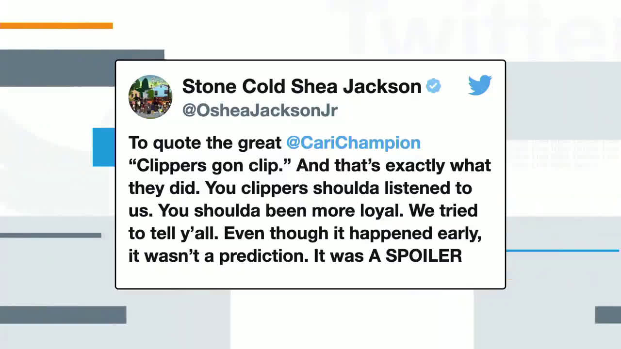"""[NBA on TNT] """"That wasn't a prediction, it was a spoiler."""" 😂 O'Shea Jackson Jr.(Ice Cube's son) called the future of the Clippers on Opening Night."""